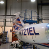 Learjet in hanger at Roehampton Vale campus