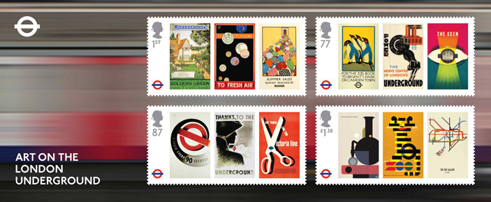 The art work of the London Underground features on a special set of stamps released by Royal Mail.