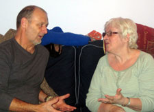 Jerry Hayes cares for his partner Kathy, who has had a stroke.
