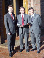 Photo of Professor Mark Hart (centre) with Stephen Pegge (Lloyds TSB) and Professor Robert Blackburn (Kingston University)