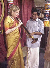 Photo of Dr Ingrid Pearson (left) playing the nagaswaram.