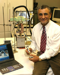 Photo of Professor Robert Istepanian with the OTELO system.