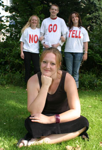 Photo of Students' Union volunteer co-ordinator Catherine Attridge, front, with the cast of Stop Red! Keep Safe.