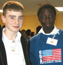 Photo of school pupils at the model United Nations conference.