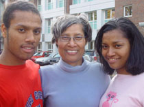 Photo of Pandora Cedenio, centre, her son, Jahan, left, and daughter Javaria.