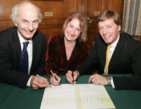 Royal Holloway, University of London Principal Professor Stephen Hill, left, Kingston Deputy Vice-Chancellor Professor Mary Stuart and St George's, University of London Principal Professor Michael Farthing signed the accord launching the South West London Academic Network.