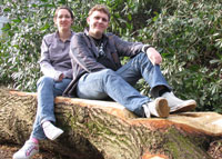 Music students Rachel Strong, 22, and James Ford, 20, take a break from their coursework on a bench carved out of a fallen oak tree on the Kingston Hill campus.
