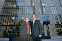 The Forstye Saga star Susan Hampshire admires Kingston University's new John Galsworthy Building with Vice-Chancellor Professor Peter Scott.