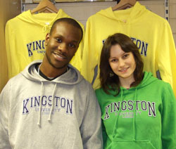 Students' Union president Olrick Coker and environmental management student Renata Rez model the new Kingston University Fairtrade sweatshirts.