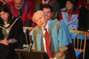 Broadcaster and naturalist Sir David Attenborough accepted his honorary degree in a ceremony at Kingston's Rose Theatre.