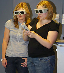 Healthcare students Danielle Skipsey (left) and Sophie Smith have to don special glasses to use the new VERT technology.