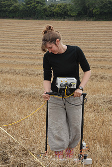 Dr Wickstead undertaking geophysical tests at Damerham