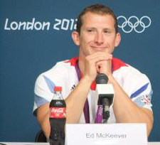 Olympic champion Ed McKeever faces the world's press at a media conference following the men's 200 metre kayak final.