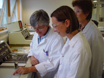 Photo of technical officer June Falla, left, at the chemistry in action day.