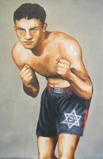 A painting of Jack 'Kid' Berg by Charles Miller.