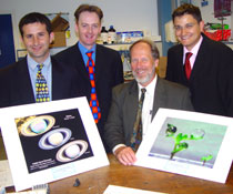 Photo of NASA research scientist Dr Essy Behravesh, far left, Dr Colin McGuckin, NASA's Head of Space Medicine Dr Steve Gonda and Dr Nico Forraz, far right.