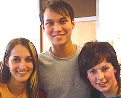 Photograph of Mark Taylor with coursemates Emma Gudgion and Kristen Tonge