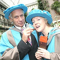 Green & Black's founders Craig Sams and Jo Fairley have been honoured by Kingston University.