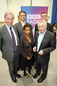 Any Questions? panellists former Chief Inspector of Prisons Lord Ramsbotham, RSA chief executive Matthew Taylor, writer and broadcaster Bonnie Greer and ConservativeHome.com editor Tim Montgomerie joined presenter Jonathan Dimbleby, front right, for the Radio 4 broadcast.
