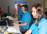 Callers to the Kingston University Clearing hotline will speak to student operators and then be transferred through to academic staff if they have the grades needed to fill a course vacancy.