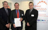 Graeme Hall, Executive Director of the West London Lifelong Learning Network, Kingston University's Professor Martyn Jones and Andrew Ward, Chair of the West London Lifelong Learning Network with the new progression accord agreement.