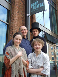 Head of Performance and Screen Studies Frank Whately takes a break from rehearsals with the Earl of Shaftesbury (Matthew Thom), Joe Cooper (Harry Ashbee) and Annie Cooper (Anna Lancaster) outside the Rose Theatre.