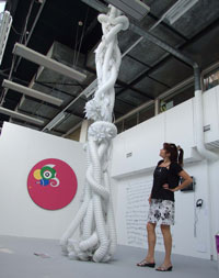 Fine art student Carola Wochner's work, including this sculpture, has attracted a lot of attention from visitors to the Kingston University Degree Show. Member of staff Lynda Horsewood admires the work