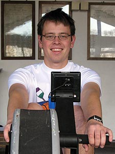 Peter Brewer has been hard at work training for his rowing machine challenge.
