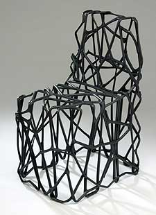 A chair sculpted from plastic carrier bags by Richard Liddle also features in the exhibition.